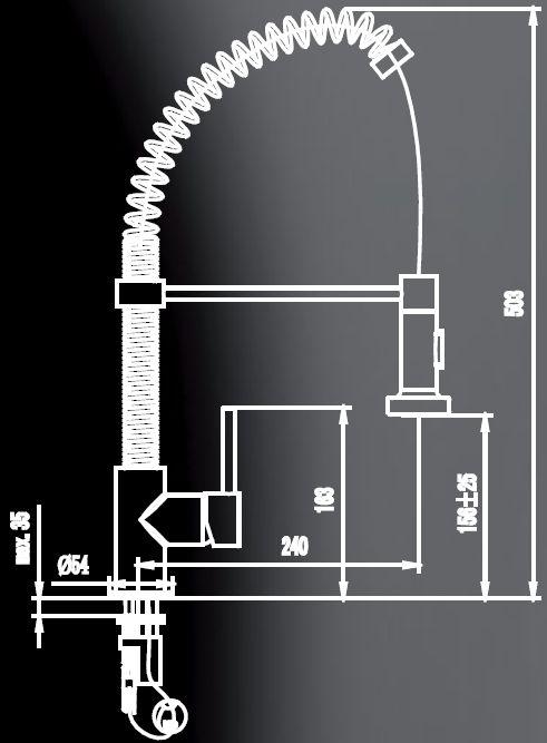 Смеситель для кухни с гибким изливом  Elghansa 5604032-2509