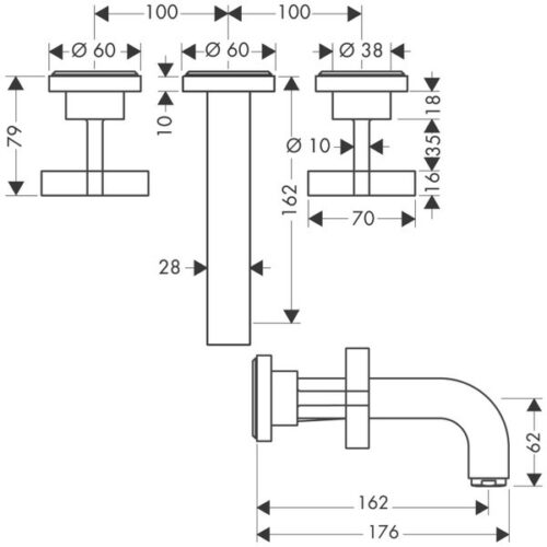 Смеситель AX Citterio для раковины, на 3 отверстия
