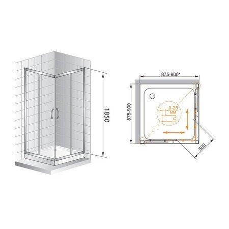 Душевой уголок Cezares Art-Gotico-A-2-90-C-D 900х900х1850, прозрачное, профиль узорчатый