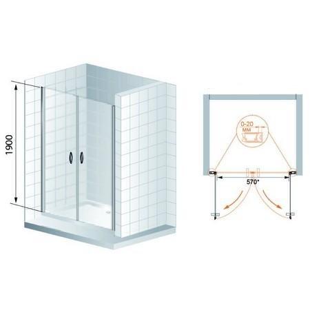 Душевая дверь Cezares Fontano-B-2-90-C-Cr 900х1950, прозрачное, профиль хром