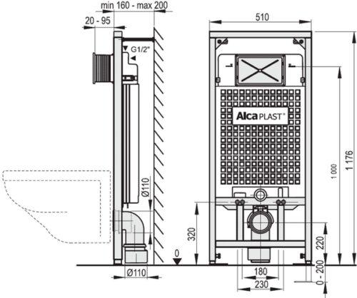 Инсталляция для подвесного унитаза AlcaPlast A101/1200