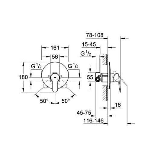 Смеситель Grohe BauEdge 29078000 для душа со встроенным механизмом