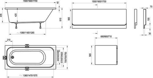 Ванна акриловая Ravak Chrome 150х70