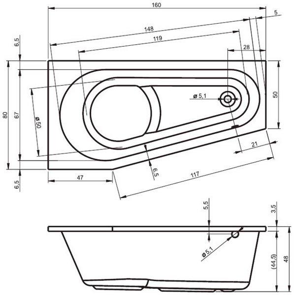 Акриловая ванна Riho Delta 160х80 правая
