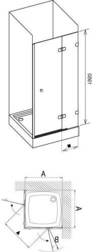 Душевая дверь Brilliant BSD2-90 A хром-транспарент 890-905, правая (+B Set BSD2-R 80,90 хром)