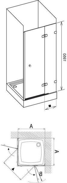 Душевая дверь Brilliant BSD2-100 A хром-транспарент 990-1005, правая (+B Set BSD2-R 100 хром)
