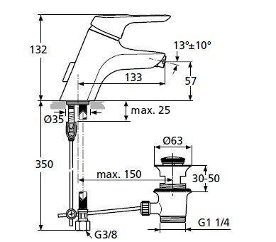 Смеситель для биде Ideal Standard Ceramix Blue A 5655 AA