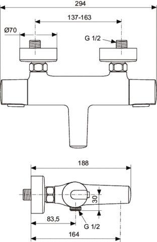 Смеситель для ванны Ideal Standard CeraTherm 100 A 4623  AA