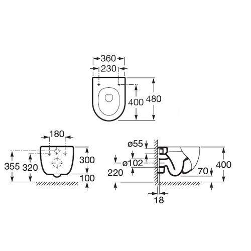 Унитаз подвесной Roca Meridian N Compact 346248000