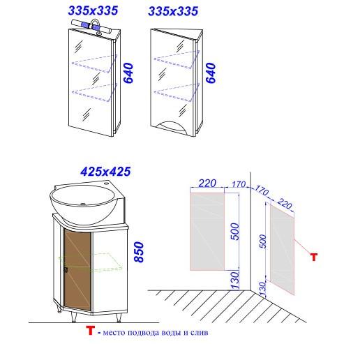 Мебель для ванной Aqwella Дельта 45/L