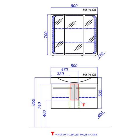 Мебель для ванной Aqwella Милан 80 подвесной (дверцы)