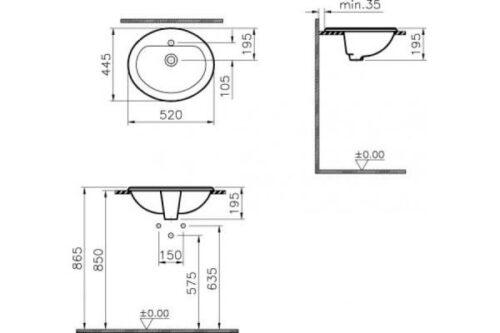 Раковина Vitra Arkitekt встраиваемая 52x45 см (6084B003-0001)