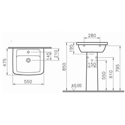 Раковина Vitra Form 300 55см с пьедесталом (9602B003-7650)