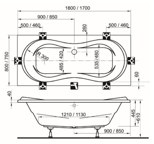 Ванна акриловая Ravak Campanula I 180х80