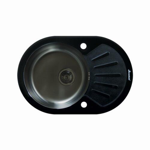 Кухонная мойка из нержавеющей стали и стекла Seaman Eco Glass SMG-730B Gun (PVD)