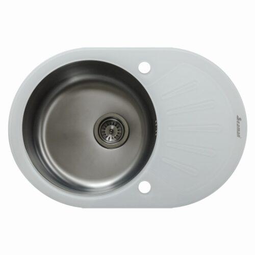 Кухонная мойка из нержавеющей стали и стекла Seaman Eco Glass SMG-730W Gun (PVD)