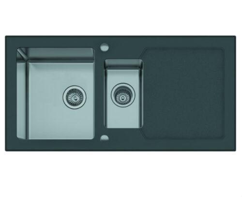 Кухонная мойка из нержавеющей стали и стекла Seaman Eco Glass SMG-1000B (Черная)