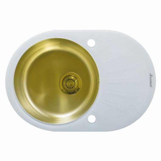 Кухонная мойка из нержавеющей стали и стекла Seaman Eco Glass SMG-730W Gold (PVD)