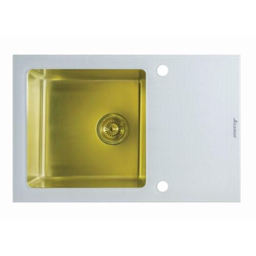 Кухонная мойка из нержавеющей стали и стекла Seaman Eco Glass SMG-780W Gold (PVD)