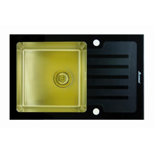 Кухонная мойка из нержавеющей стали и стекла Seaman Eco Glass SMG-780B Gold (PVD)