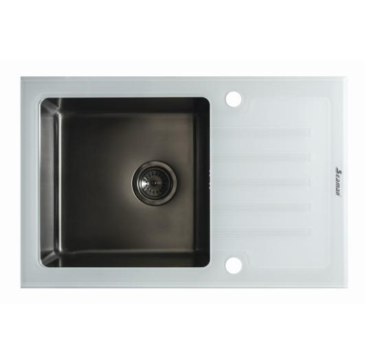 Кухонная мойка из нержавеющей стали и стекла Seaman Eco Glass SMG-780W Gun (PVD)