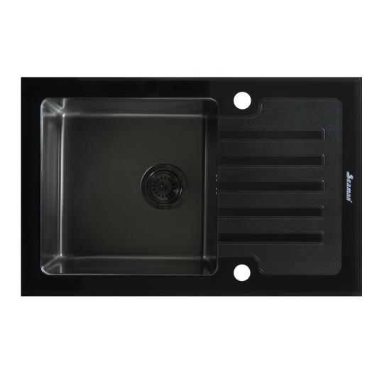 Кухонная мойка из нержавеющей стали и стекла Seaman Eco Glass SMG-780B Gun (PVD)