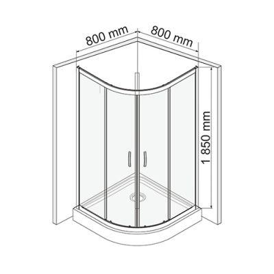 Душевой уголок 80х80 см прозрачное стекло WasserKRAFT ISEN 26S00