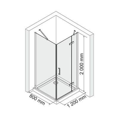 Душевой уголок 120х80 см прозрачное стекло WasserKRAFT ALLER 10H06R
