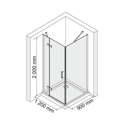 Душевой уголок 120х90 см прозрачное стекло WasserKRAFT ALLER 10H07LBLACK