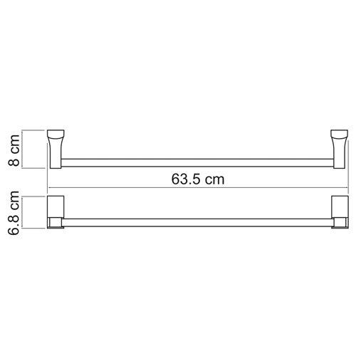 Держатель полотенец штанга WasserKRAFT Leine K-5030 63 см