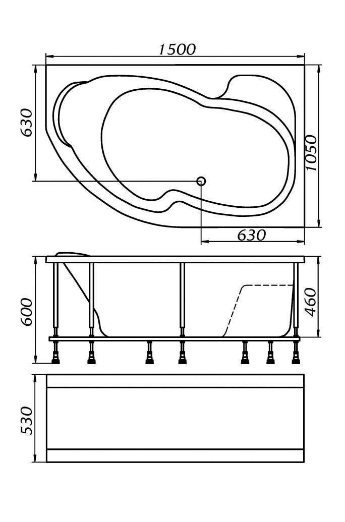 Акриловая ванна MarkaOne Aura 150*105 L/R