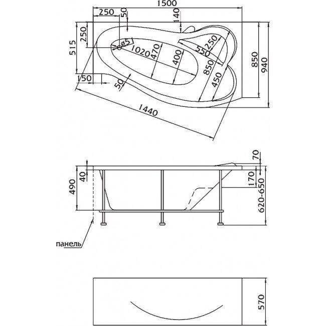 Акриловая ванна MarkaOne Gracia 150*94 L/R