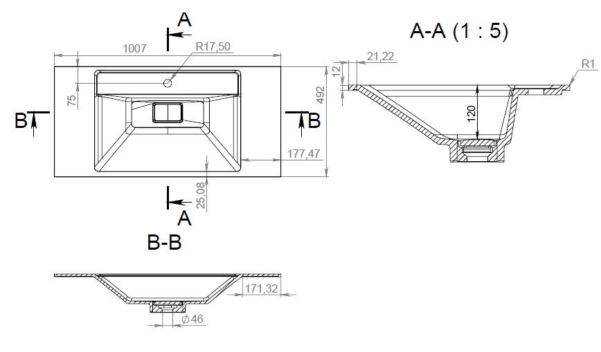 M50AWPX1001WG INSPIRE V2.0, раковина мебельная , искусственный мрамор, со сливом-переливом, 100 см