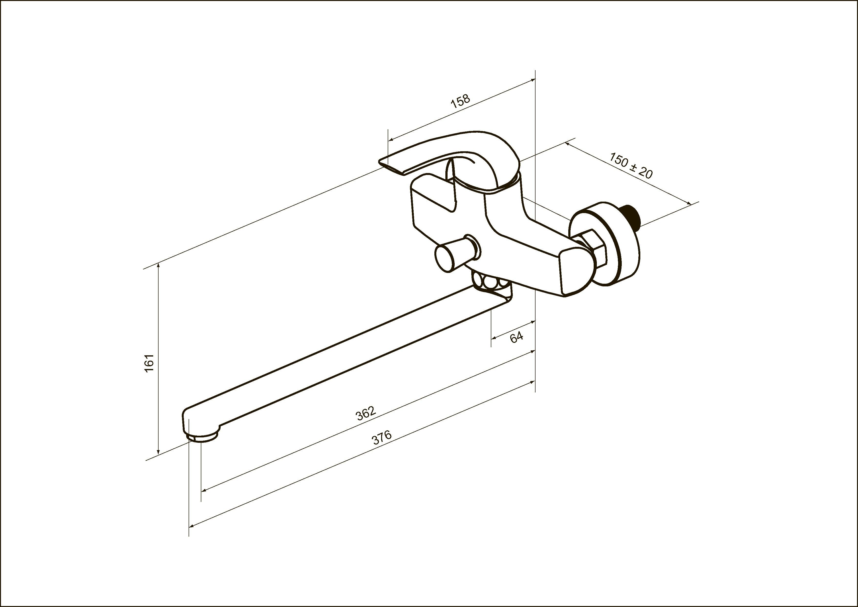 F7590032 Sense, смеситель д/ванны/душа, излив 300 мм, хром, шт