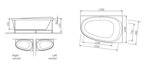 W30A-170R110W-D Sensation, ванна акриловая 170х110 см, правосторонняя, на каркасе, с фронтальной пан