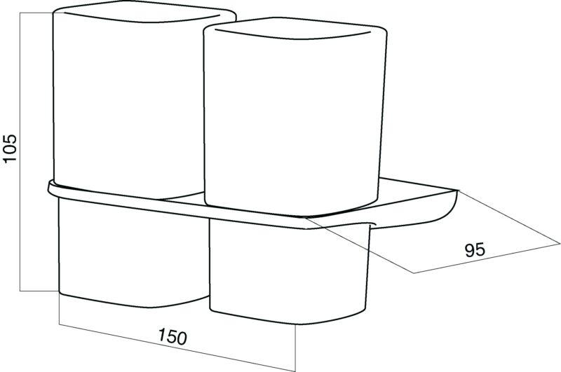 A50343464 Inspire, Двойной стеклянный стакан с настенным держателем, шт