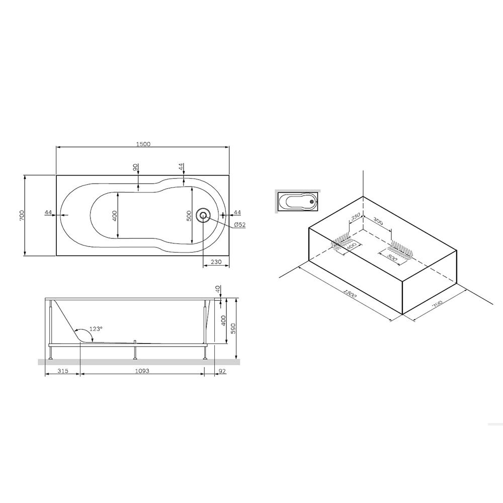W88A-150-070W-R X-Joy, каркас в комплекте с монтажным набором 150х70 см, шт