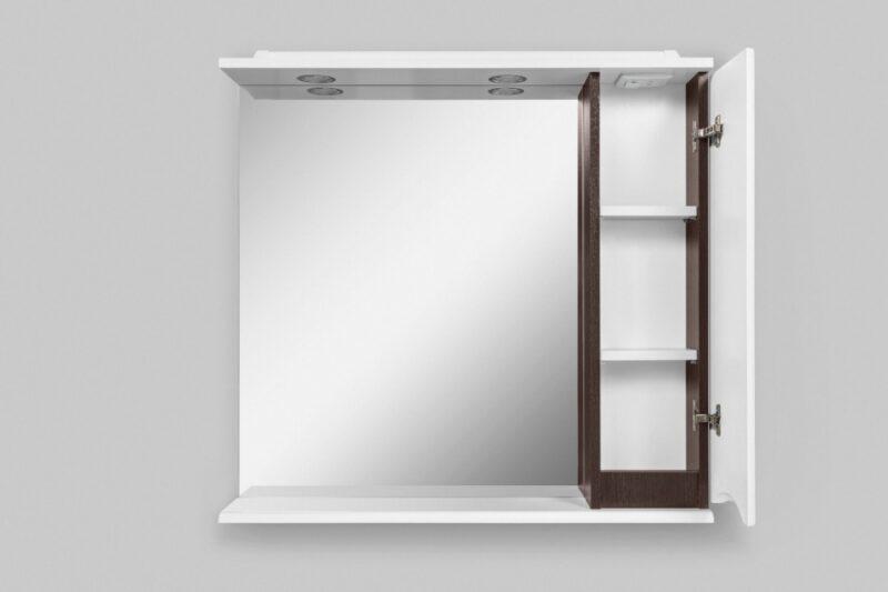M80MPR0801VF Like, зеркало, частично-зеркальный шкаф, 80 см, с подсветкой, правый, венге, текстуриро