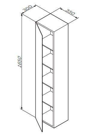 M70ACHML0356WG SPIRIT 2.0, шкаф-колонна, подвесной, левый, 35 см, зеркальный фасад, цвет: белый, гля
