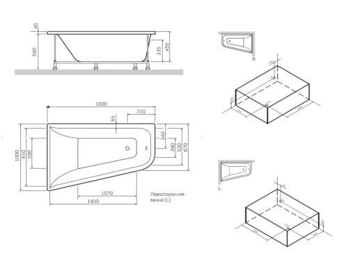 W72A-160R100W-P2 фронтальная панель для ванны spirit, правосторонняя