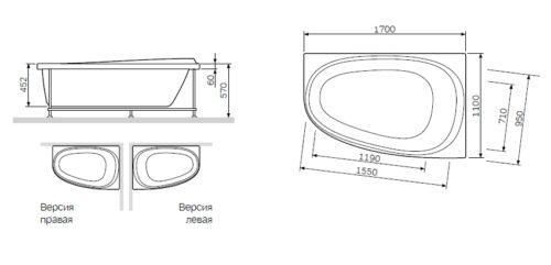 W80A-170R110W-R Like, каркас 170х110 см, правосторонний, шт
