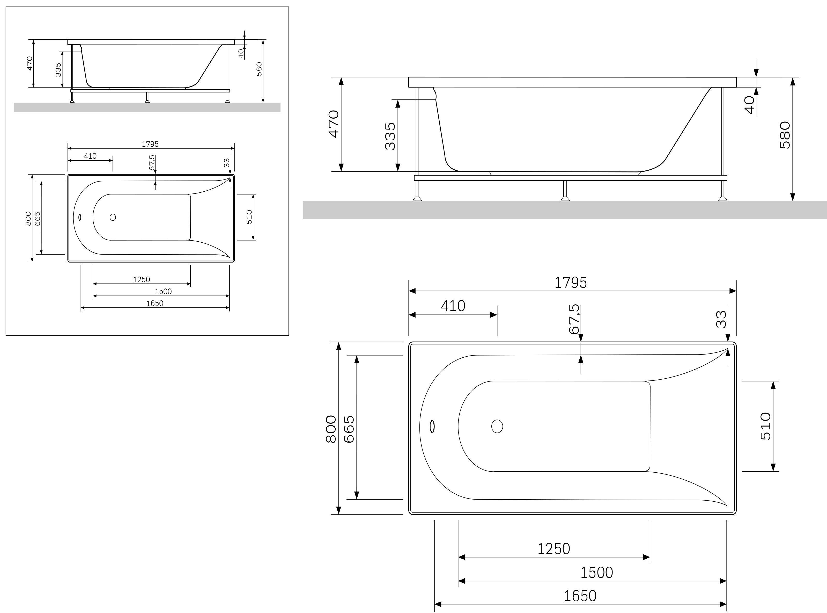 W5AA-180-080W-R64 Inspire каркас для ванны Inspire A0, 180х80 см