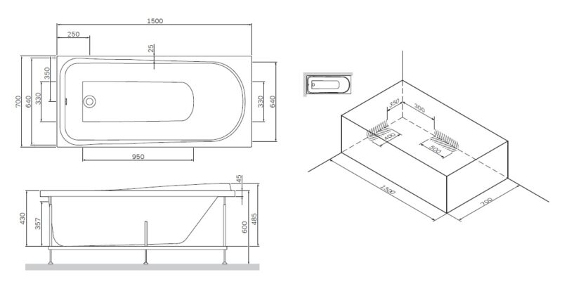 W80A-150-070W-R Like, каркас для ванны A0 150х70 см, шт