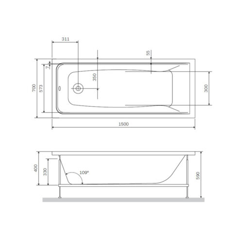 W90A-150-070W-R Gem, каркас в комплекте с монтажным набором 150х70,  см, шт