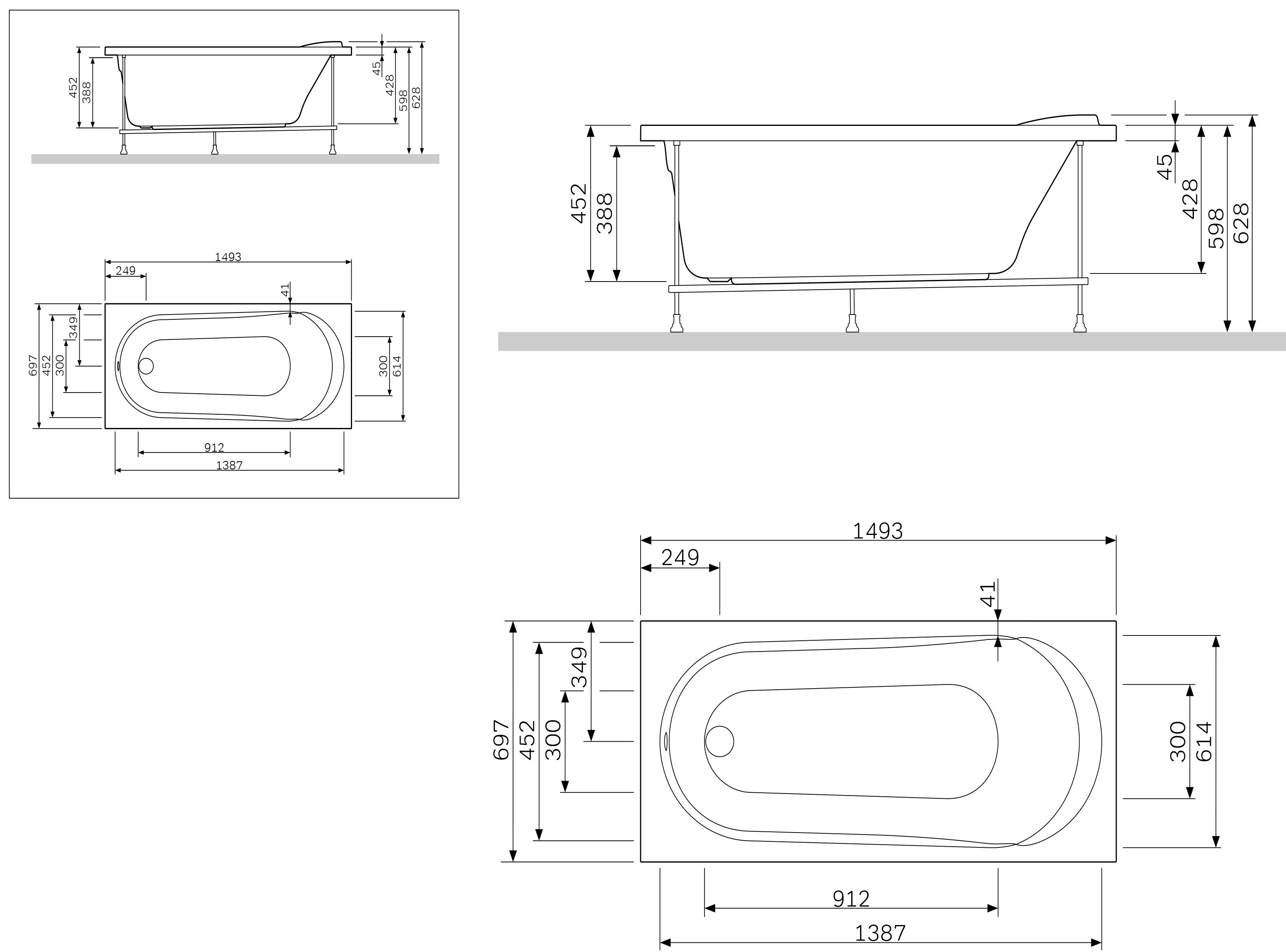 W85A-150-070W-R Каркас, для ванны Joy, 150*70