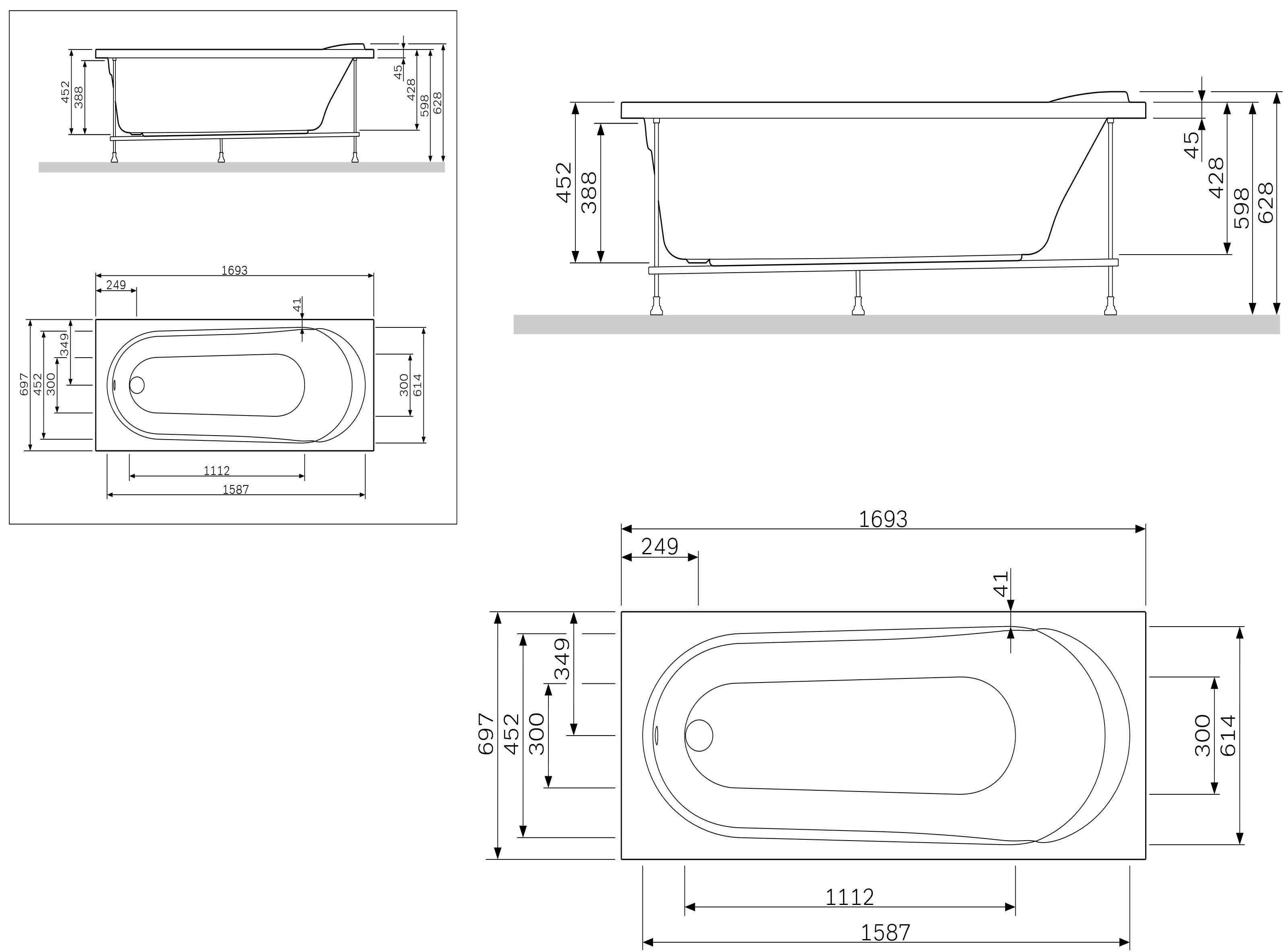 W85A-170-070W-P  Панель фронтальная  (универсальная) для ванн Joy/Spirit, 170 см, шт