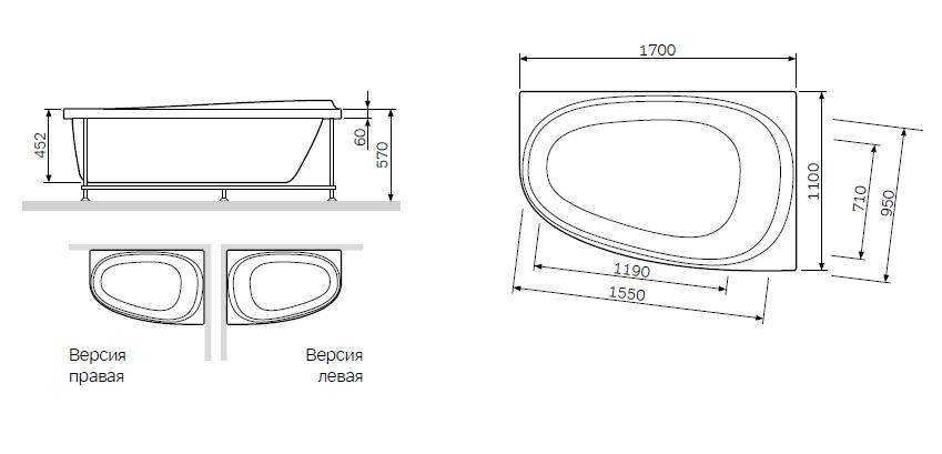 W80A-170L110W-R Like, каркас 170х110 см, левосторонний, шт