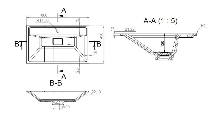 M50AWPX0801WG INSPIRE V2.0, раковина мебельная , искусственный мрамор, со сливом-переливом, 80 см