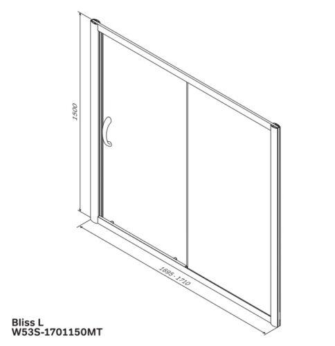 W53S-1701150MT BLISS L Шторка на борт ванны 170x150,с одной дверью,профиль матов.хром, стекло прозр