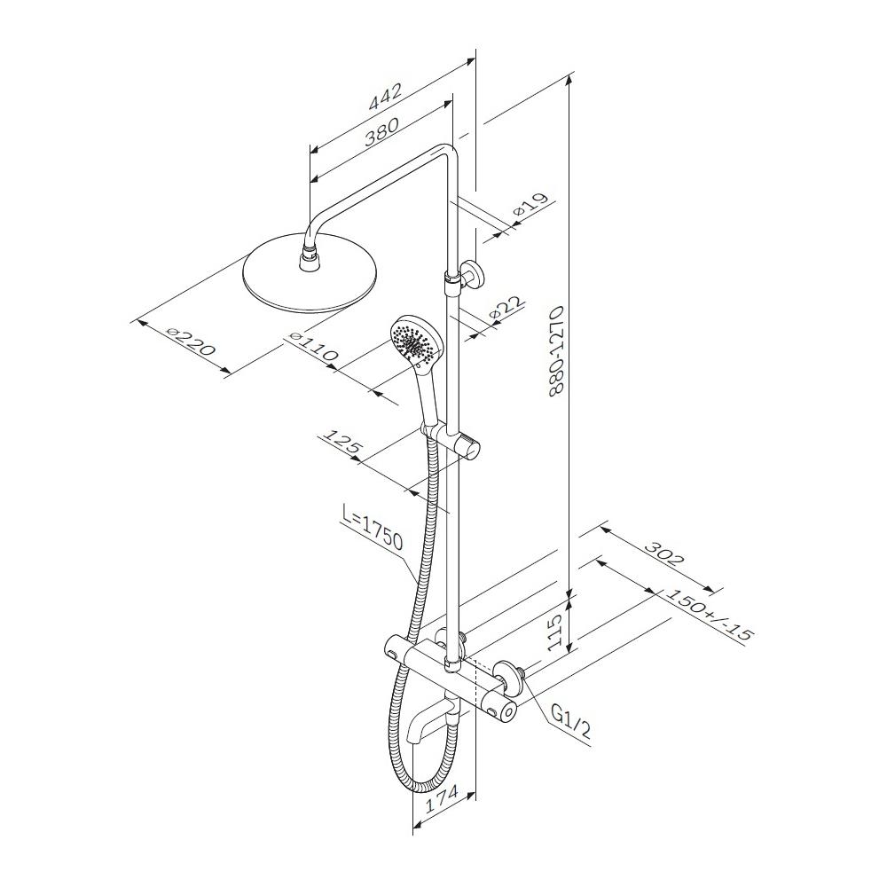 F0782A500 Chic V2.0, душевая система, набор: см-ль д/ванны/душа с термостатом, верхний душ d 220 мм,